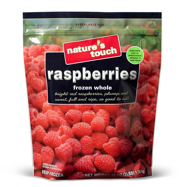 Nature's Touch Frozen Raspberries, Resealable Standup Ppouch