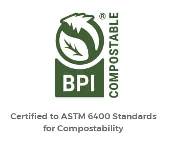 Compostable packaging is certified to ASTM 6400 standards
